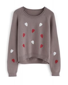Love is All Sweetheart Knit Top in Taupe