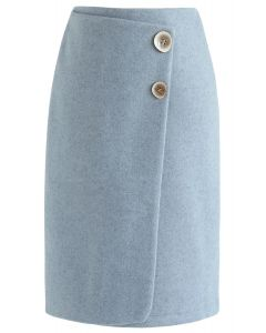 Must Pick You Wool-Blended Skirt in Blue