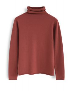 Softness Mood Turtleneck Knit Top in Coral