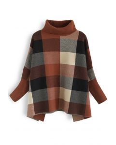 Lie in Check Fields Turtleneck Cape Sweater in Caramel