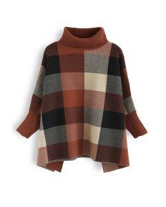 Lie in Check Fields Turtleneck Cape Sweater in Caramel