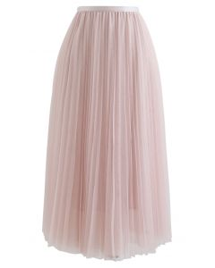 Call out Your Name Pleated Mesh Skirt in Pink