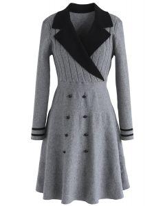 Charming Sailorette Wrap Knit Dress in Grey