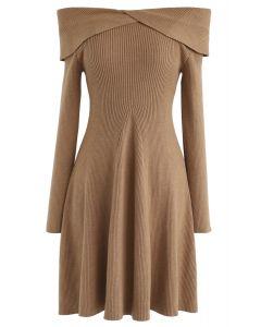 Break of Dawn Off-Shoulder Knit Dress in Caramel