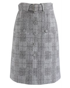 Loving Moments Belted Grid Skirt in Grey