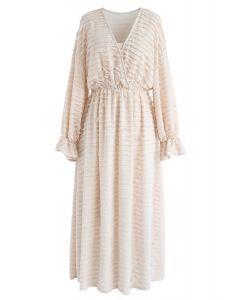 Dreamlike Tiered Ripple Midi Dress in Peach