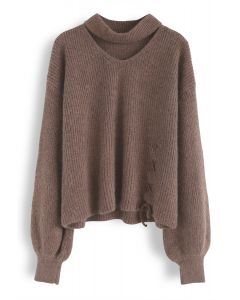 From Me to You Cut Out Knit Sweater in Tan