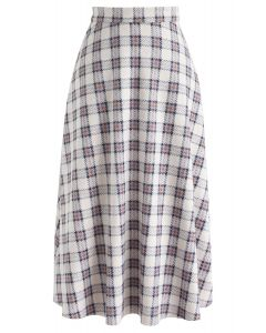 Chic Moves Plaid Suede Midi Skirt