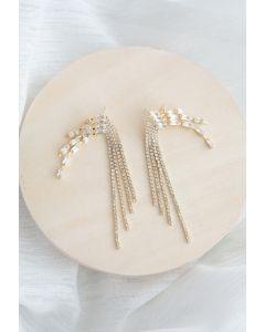 Crystal Chain Tassel Earrings