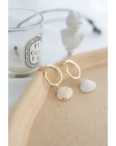 Shell Gold Hoop Earrings