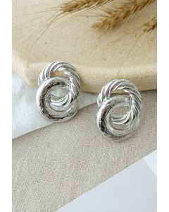 Twist Circle Silver Earrings