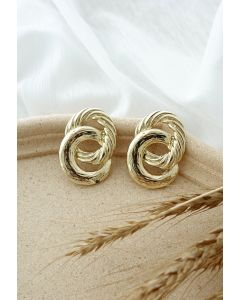 Twist Circle Gold Earrings