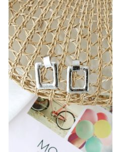 Hammered Square Silver Earrings