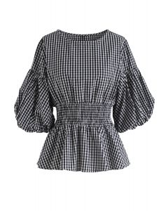 Back to Black Shirred Gingham Top