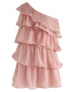 Tiered Ruffle Charm One-Shoulder Mini Dress