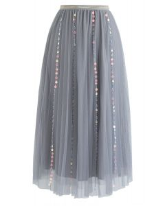 My Fairytale Sequin Tulle Mesh Skirt in Grey