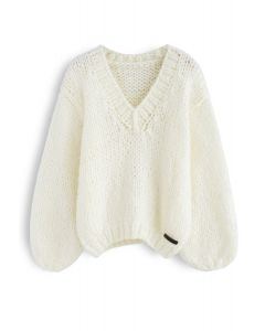 How Deep Is Your Love Hand Knit Chunky Sweater in Ivory