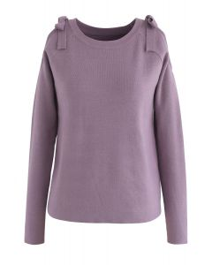 Comfortably Cold-Shoulder Knit Top in Lilac