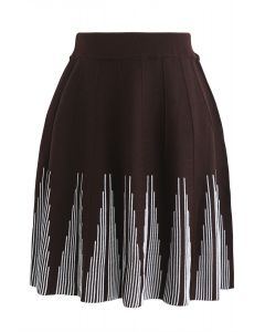 Radiant Parallel Knit Skirt in Brown