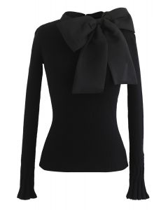 Fancy with Bowknot Knit Top in Black