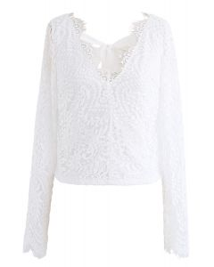 Lace Me Out Backless V-Neck Top in White