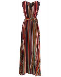 Elegance Keeper Stripes V-Neck Maxi Dress in Wine