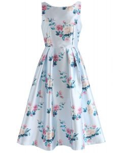 Redolent Peonies Sleeveless Printed Dress