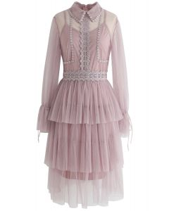 Day Glow Tiered Mesh Dress in Pink