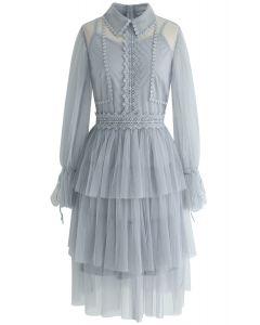 Day Glow Tiered Mesh Dress in Dusty Blue