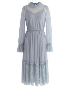Be Mine Lace Mesh Dress in Dusty Blue