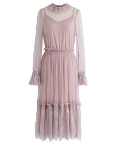 Be Mine Lace Mesh Dress in Pink