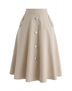 I'll be Me Buttons A-Line Skirt in Sand
