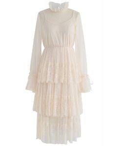 We've Met Before Dots Lace Mesh Dress in Cream