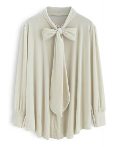 Magic Moment Bowknot Velvet Tunic in Cream