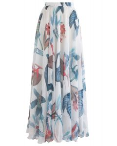 Tropical Floral Watercolor Maxi Skirt in White