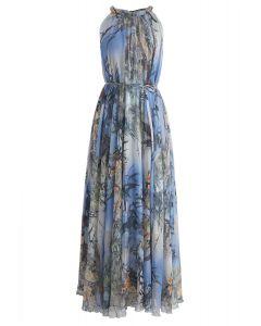Bamboo Watercolor Maxi Slip Dress in Blue