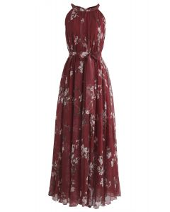Plum Blossom Watercolor Maxi Slip Dress in Wine