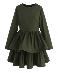 Glee Forever Tiered Dress in Army Green
