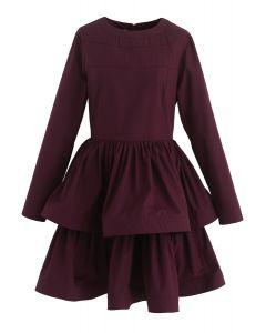 Glee Forever Tiered Dress in Wine