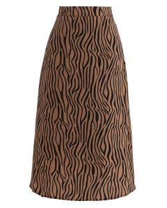 Wildlife Zebra Printed A-Line Midi Skirt in Caramel