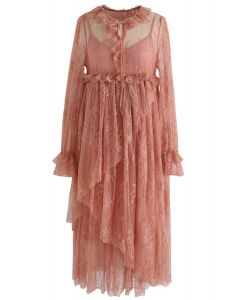 Sweet Moments Full Lace Dolly Dress in Coral