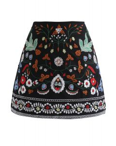 Exquisite Floral Embroidery Bud Skirt
