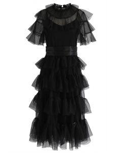 Sassy Romance Tiered Mesh Dress in Black