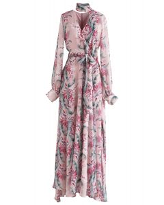 Floral Endearment Chiffon Maxi Dress in Pink