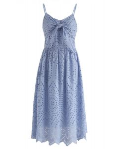 Party Playlist Eyelet Cami Dress in Blue