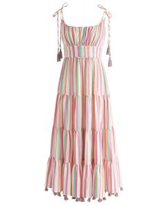 Rainbow Candies Stripes Maxi Dress