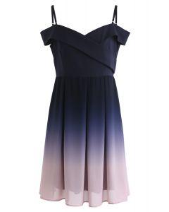 Gradient Revelry Cold-Shoulder Dress in Purple