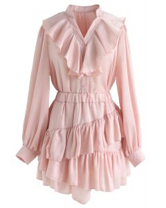 Gimme the Ruffle Top and Skort Set in Pink