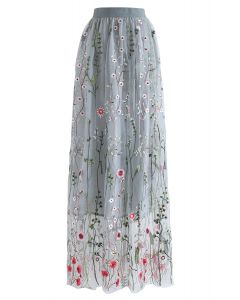 Lost in Flowering Fields Mesh Maxi Skirt in Grey