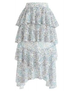 Sweet Afternoon Floral Tiered Ruffle Lace Skirt
